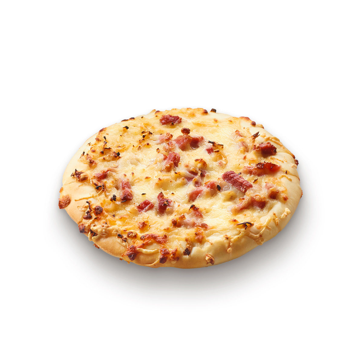 Cheese, bacon and onion pizza