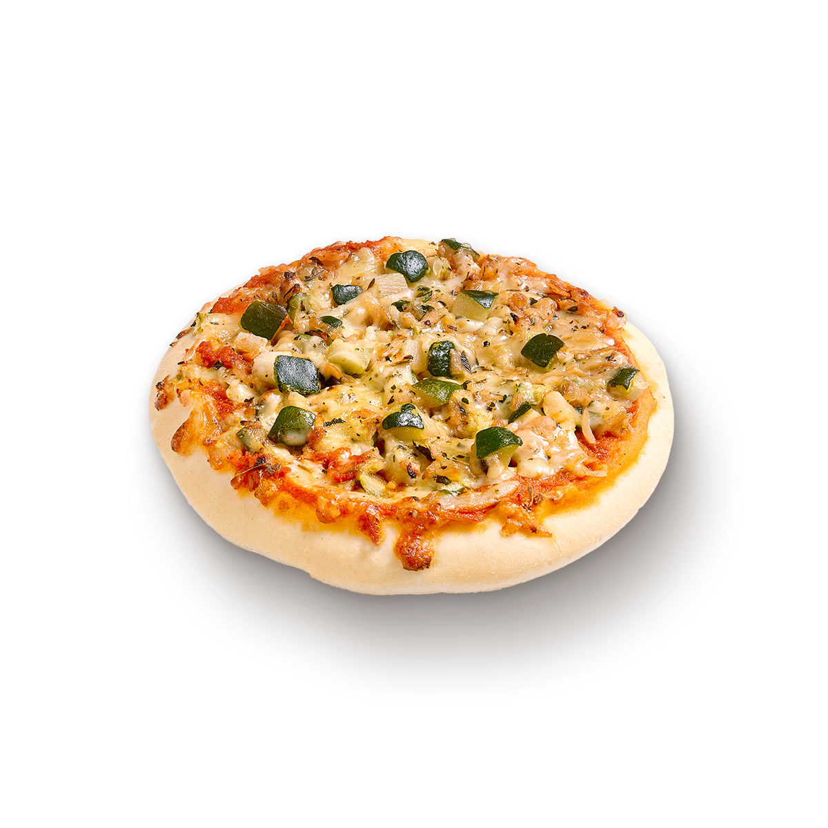 Courgette, cheese and onion pizza
