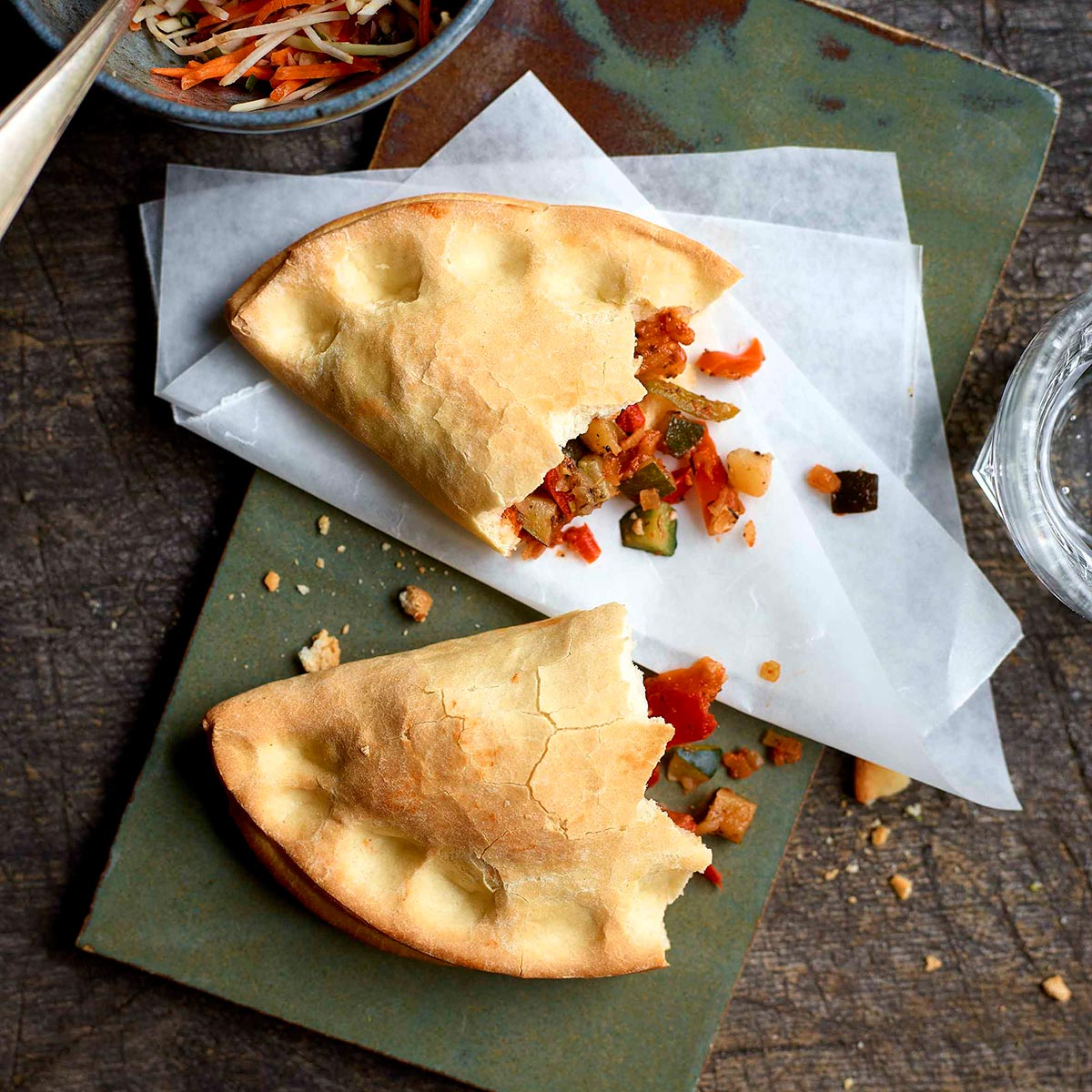Courgette, peppers and onion calzone