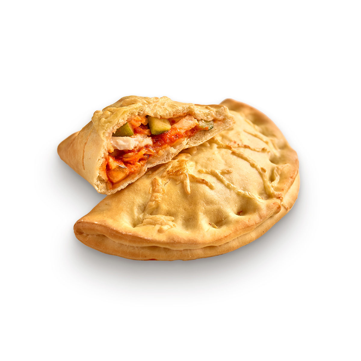 Courgette and chicken calzone