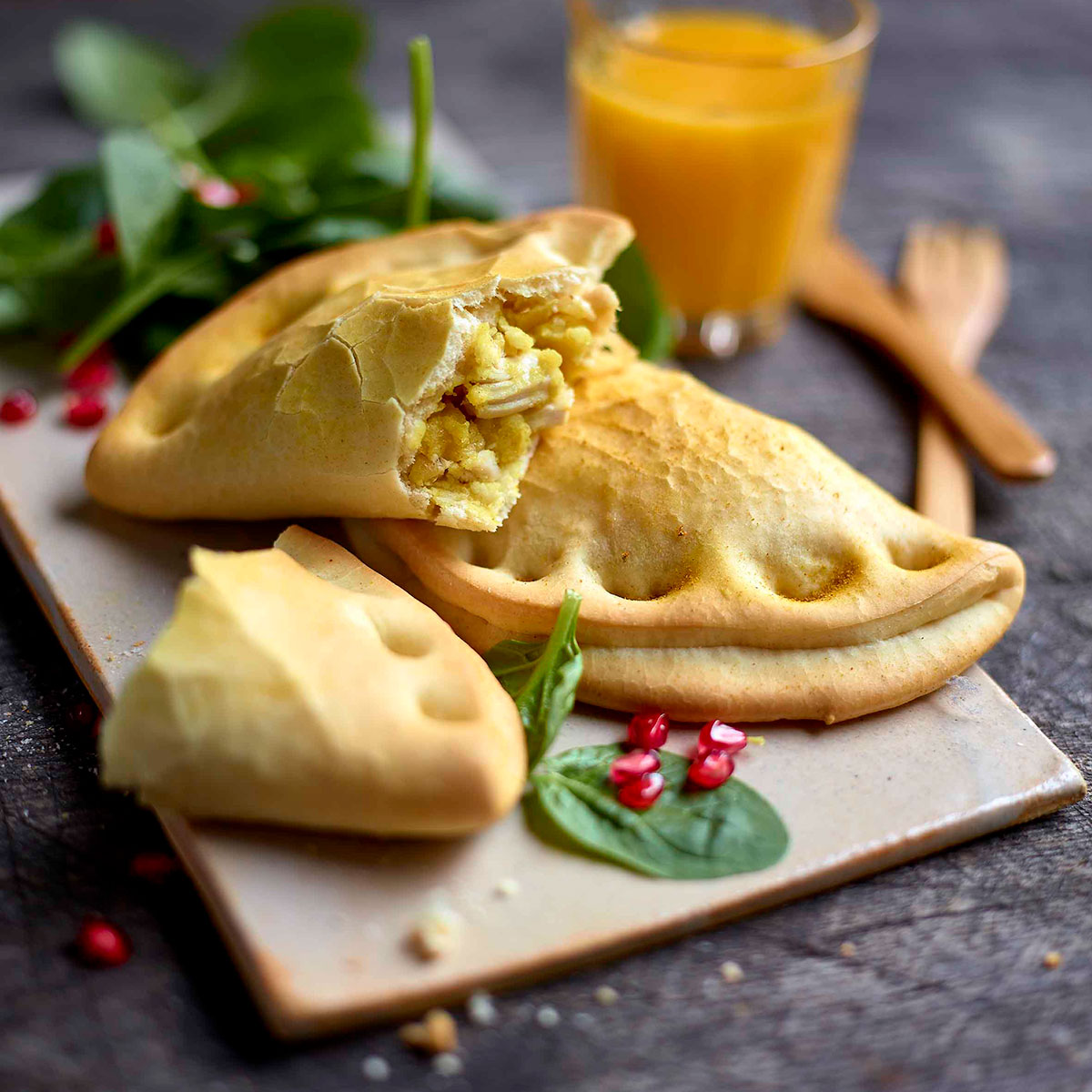 Chicken, onions and curry calzone