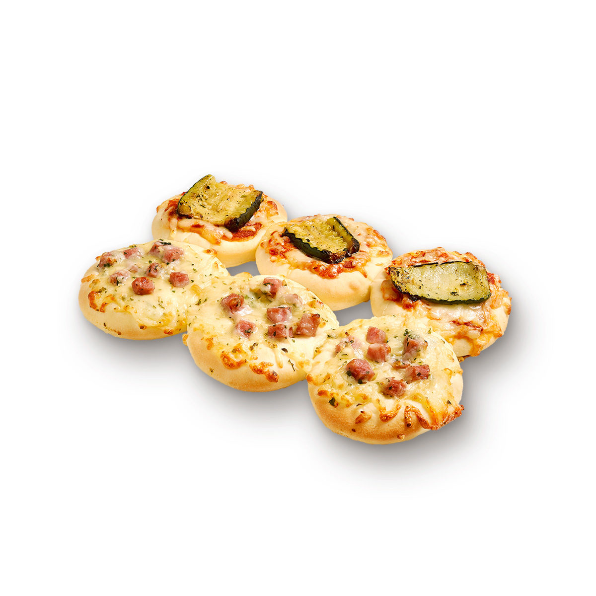 Cheese, ham and cheese, grilled courgette duo pizza